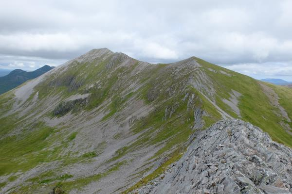 Photo of Looking back from Na Gruagaichean to 1,062 metre spot height with Binnein Mor to left