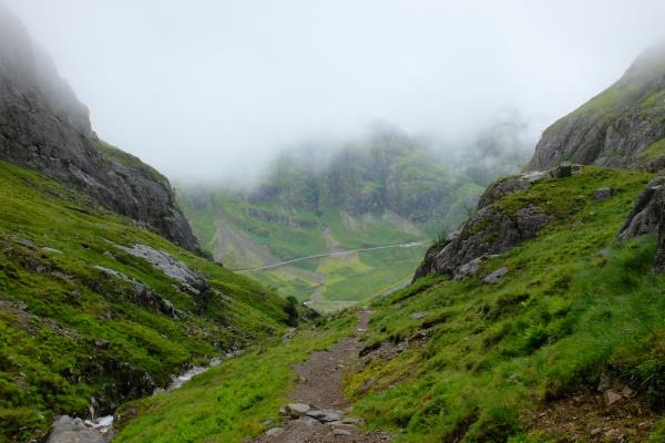 Photo of Below the mist on the path back into Glen Coe