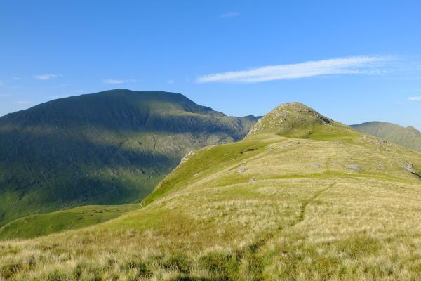 Photo of Last hillock before wild camp spot with tomorrows walk, Ladhar Bheinn to left