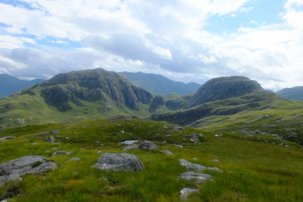 Photo of Meall nan Eun on left and An Caisteal on right, next hills on walk