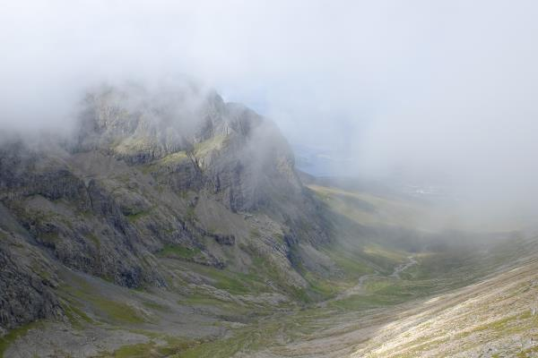 Photo of Looking down into the glen. CIC hut in bottom centre is dwarfed by Ben Nevis
