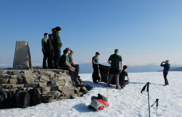 Photo of Royal Regiment of Artillery having their photo taken on summit of Ben Nevis