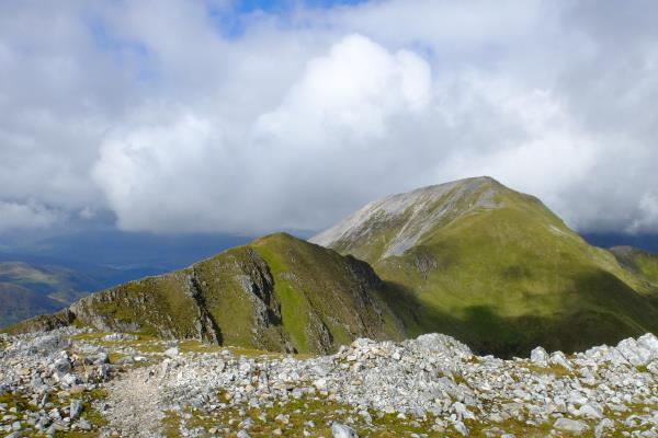 Photo of Devils Ridge on left leading to Sgurr a' Mhaim