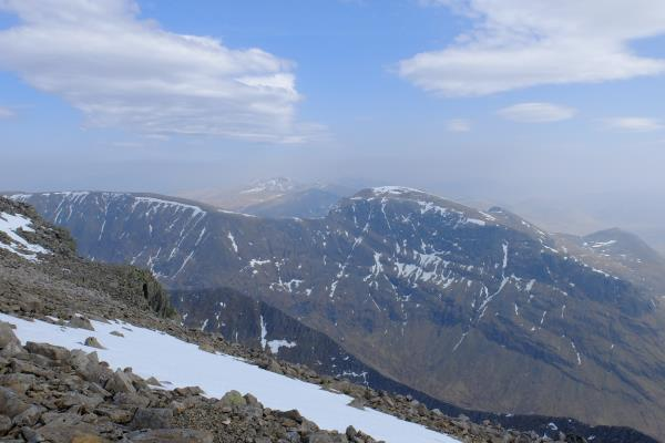 Photo of Aonach Mor on left and Aonach Beag on right with Grey Corries in distance
