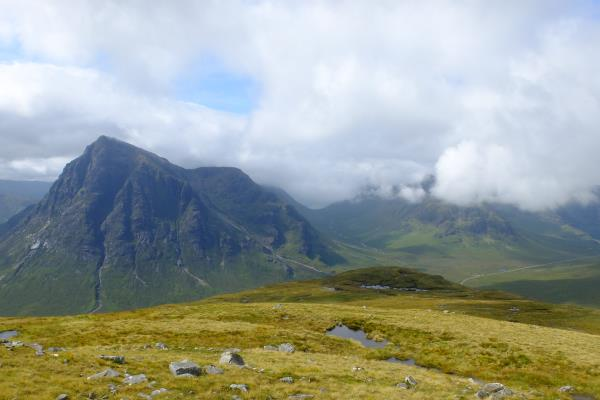 Photo of Buachaille Etive Mor, clouds covering Buachaille Etive Beag to right