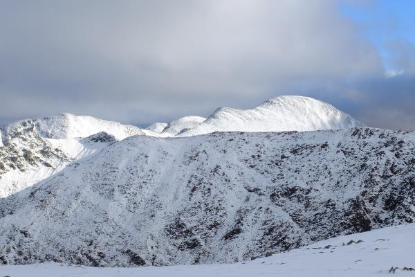 Photo of Stob Ban on right lit up