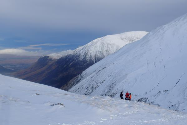 Photo of Break out of the wind just below bealach, Ben Nevis in background