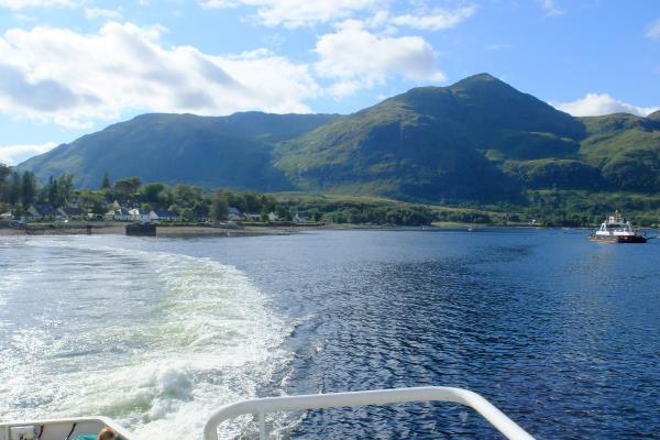 Photo of Looking back on the Corran ferry, Sgurr na h-Eanchainne highest peak to right