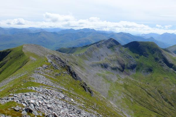 Photo of View along ridge to Na Gruagaichean on right