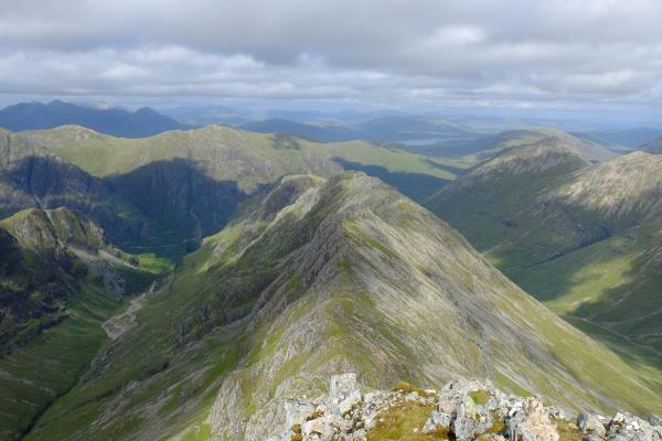 Photo of Looking along Beinn Fhada from Stob Coire Sgreamhach. Hidden Valley to left