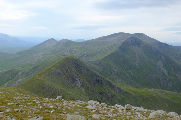 Photo of Leaving Glas Bheinn with last few peaks of route to right